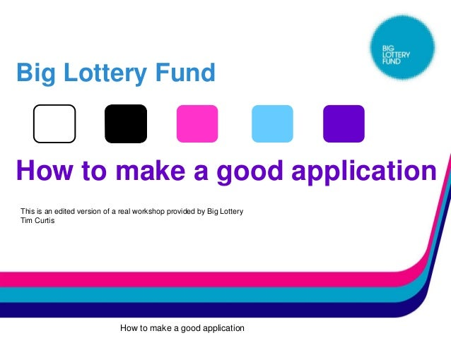Big Lottery FundHow to make a good applicationThis is an edited version of a real workshop provided by Big LotteryTim Curt...