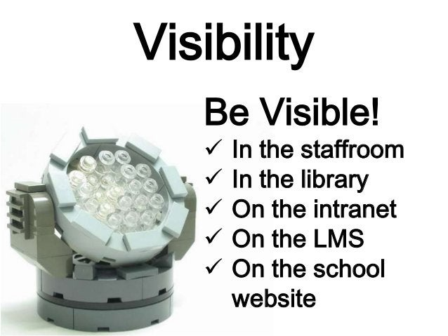 Visibility Be Visible!  In the staffroom  In the library  On the intranet  On the LMS  On the school website