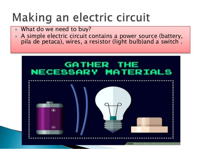  What do we need to buy?  A simple electric circuit contains a power source (battery, pila de petaca), wires, a resistor...
