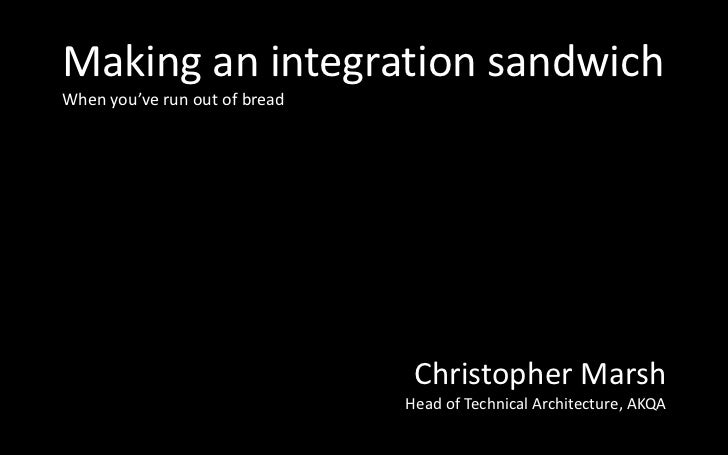 Making an integration sandwichWhen you've run out of bread                                Christopher Marsh               ...
