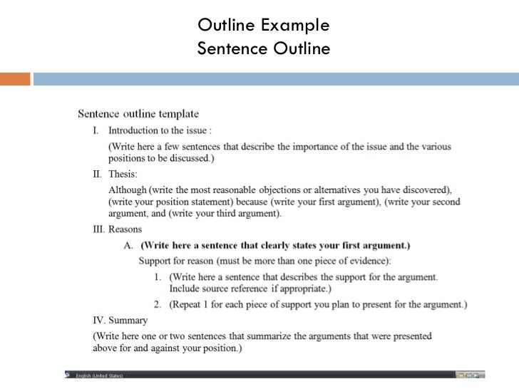 Writing Graduate School Essay Outline Examplesentence Outline  Research Essay Questions also A Sample Essay About Myself Making An Outline Essay Marking Service