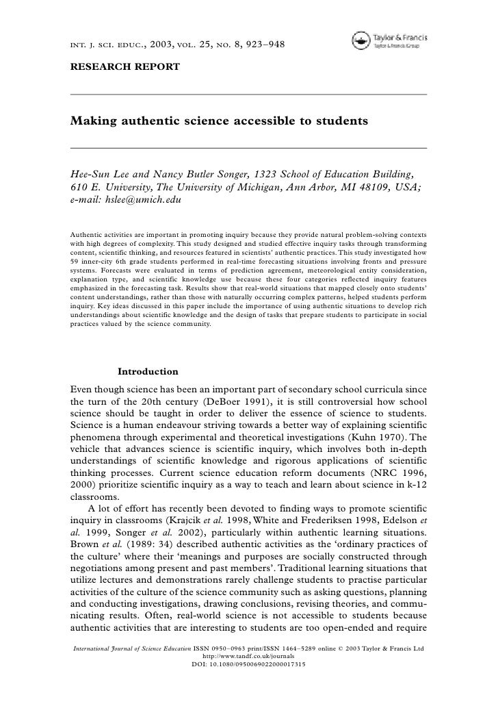INT. J. SCI. EDUC.,      2003, VOL. 25,        NO.   8, 923–948RESEARCH REPORTMaking authentic science accessible to stude...
