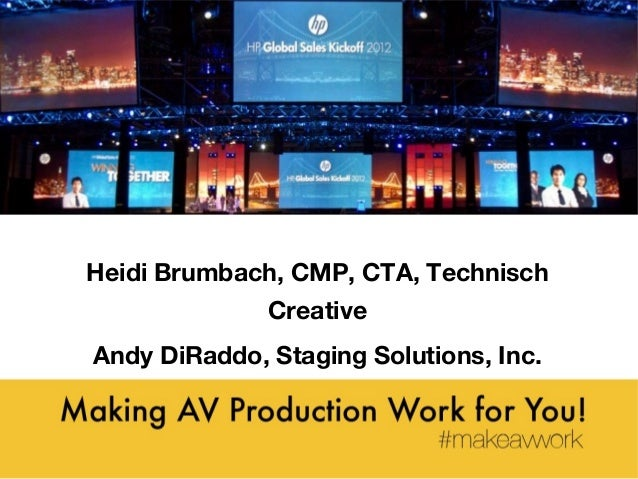 Making AV Production Work for You! Work for You! Heidi Brumbach, CMP, CTA, Technisch Creative Andy DiRaddo, Staging Soluti...