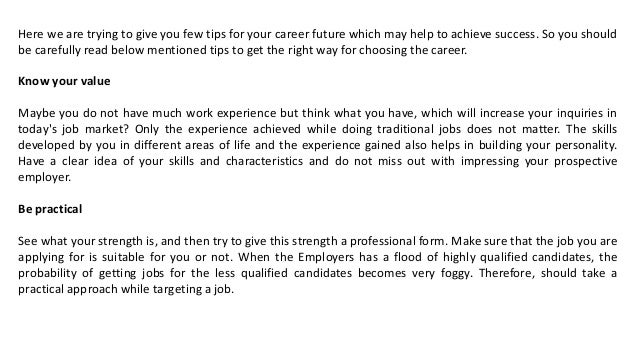 Tips For Making Bright Future In Career; 2.