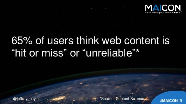 """65% of users think web content is """"hit or miss"""" or """"unreliable""""* @jeffrey_coyle TM #MAICON19 *Source: Content Science"""