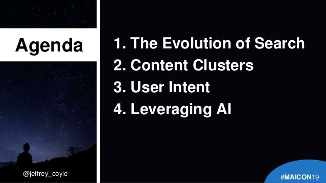 @jeffrey_coyle 1. The Evolution of Search 2. Content Clusters 3. User Intent 4. Leveraging AI Agenda #MAICON19