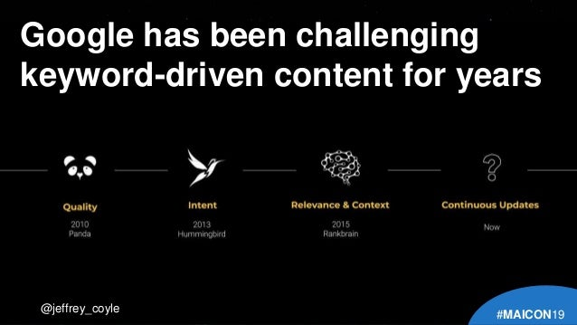 Google has been challenging keyword-driven content for years @jeffrey_coyle #MAICON19