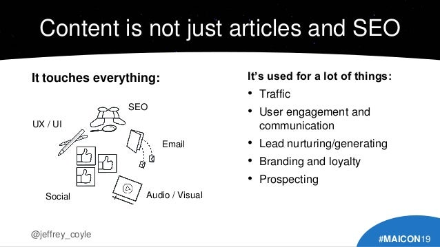 Content is not just articles and SEO It touches everything: @jeffrey_coyle #MAICON19 It's used for a lot of things: • Traf...