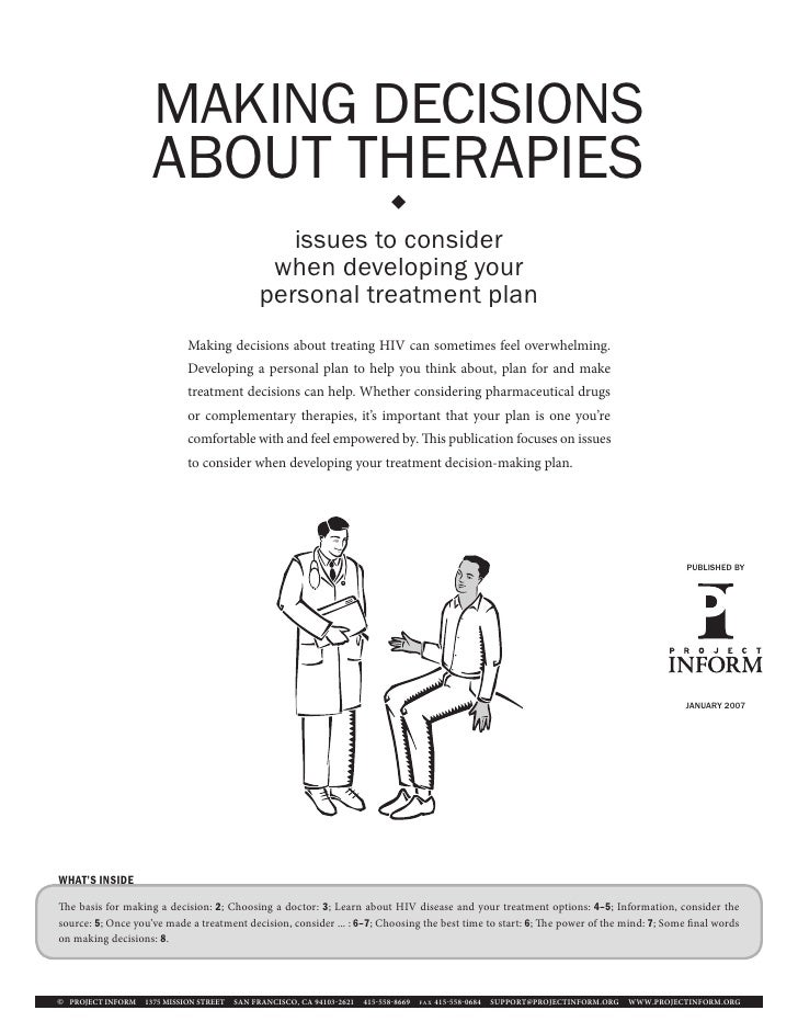 MAKING DECISIONS                    ABOUT THERAPIES                                                                      ...