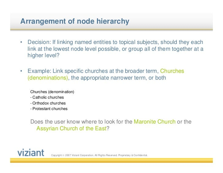 Arrangement of node hierarchy•   Decision: If linking named entities to topical subjects, should they each    link at the ...