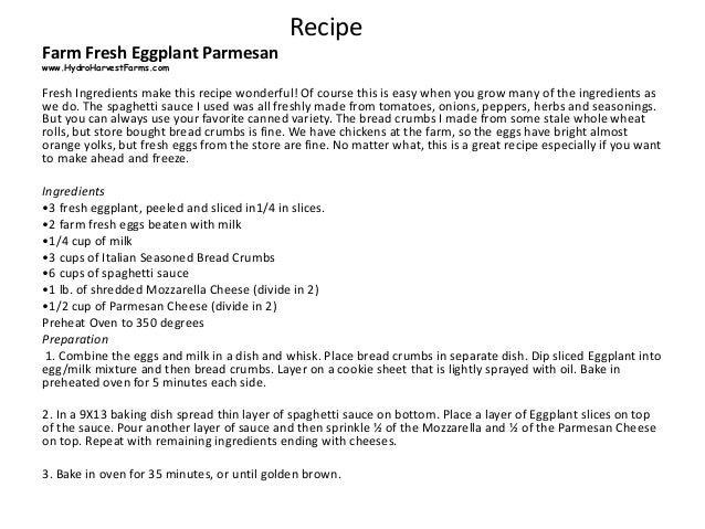 Eggplant Parmesan Easy Recipe all Farm Fresh Slide 3