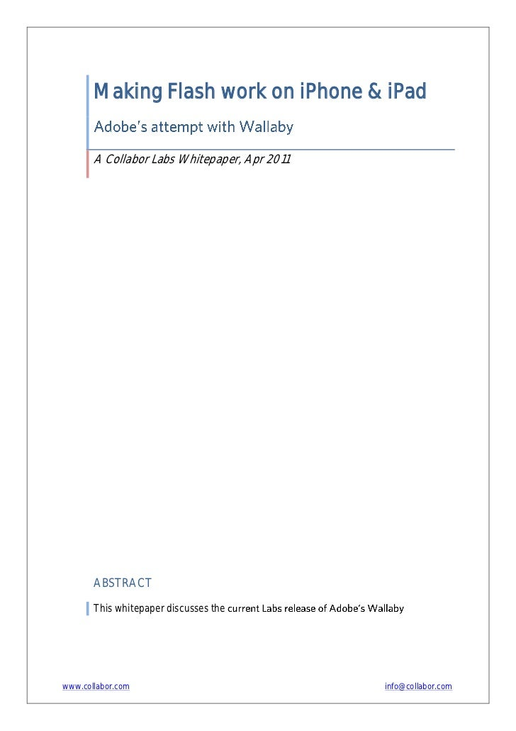 Making Flash work on iPhone & iPad       A Collabor Labs Whitepaper, Apr 2011       ABSTRACT       This whitepaper discuss...