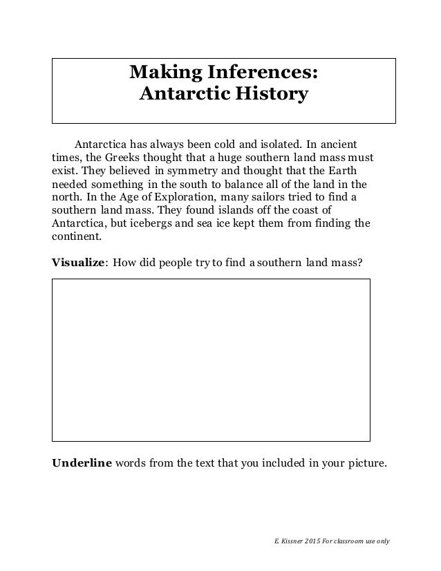 E. Kissner 2015 For classroom use only Antarctica has always been cold and isolated. In ancient times, the Greeks thought ...