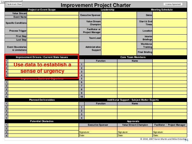 Improvement Project Charter  Spell-check Sheet  Project or Event Scope  Leadership  Value Stream  Dates  Value Stream Cham...