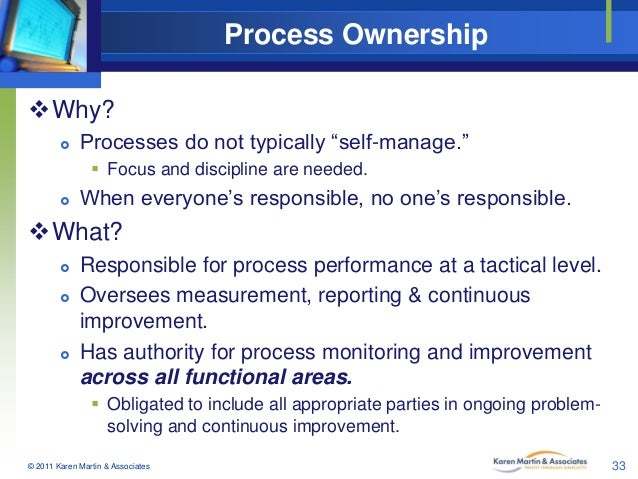 "Process Ownership Why?   Processes do not typically ""self-manage.""  Focus and discipline are needed.    When everyone'..."