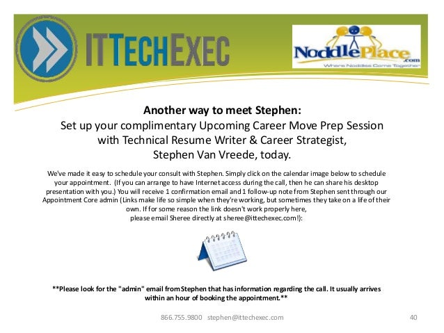 Another way to meet Stephen: Set up your complimentary Upcoming Career Move Prep Session with Technical Resume Writer & Ca...