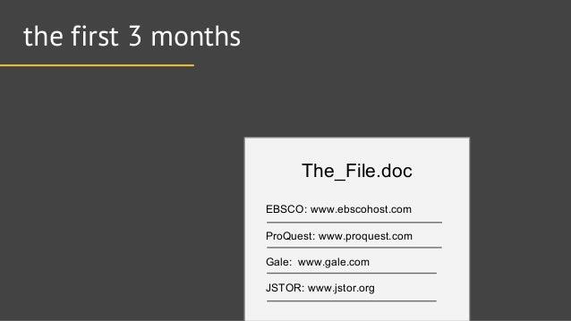 the first 3 months  The_Fi  e.doc  EBSCO:  www. ebscohost. com ProQuest:  www. proquest. com Gale:  www. ga  e.com  JSTOR:...