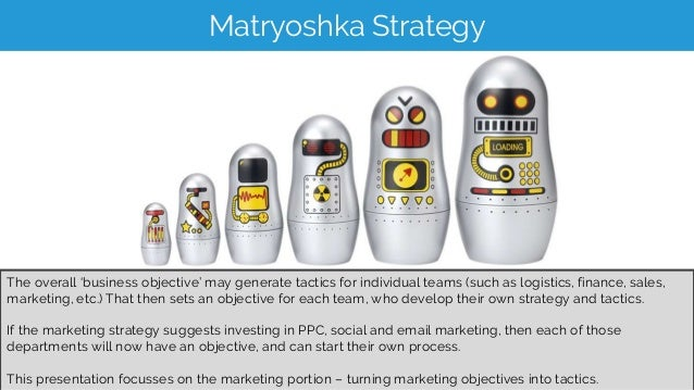 Matryoshka Strategy The overall 'business objective' may generate tactics for individual teams (such as logistics, finance...
