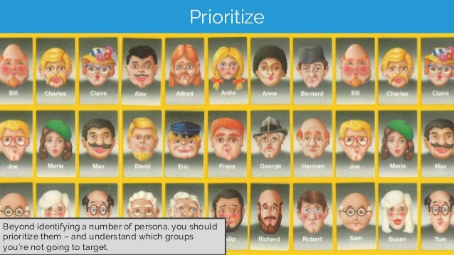 Prioritize Beyond identifying a number of persona, you should prioritize them – and understand which groups you're not goi...