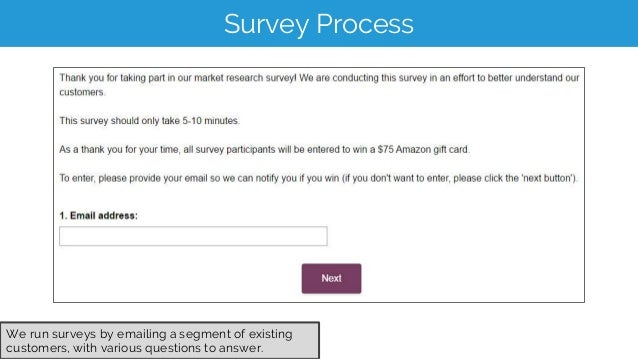 Survey Process We run surveys by emailing a segment of existing customers, with various questions to answer.