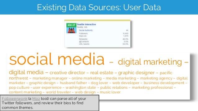 Existing Data Sources: User Data social media – digital marketing – digital media – creative director – real estate – grap...