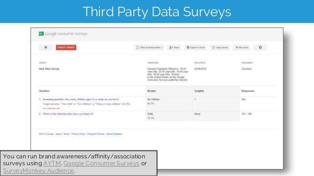 Third Party Data Surveys You can run brand awareness/affinity/association surveys using AYTM, Google Consumer Surveys or S...