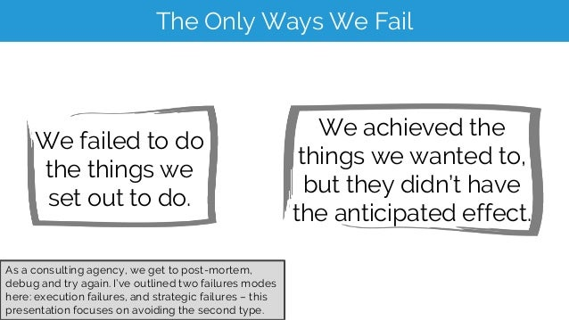 The Only Ways We Fail We failed to do the things we set out to do. We achieved the things we wanted to, but they didn't ha...