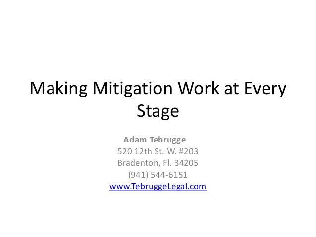 Making Mitigation Work at Every Stage Adam Tebrugge 520 12th St. W. #203 Bradenton, Fl. 34205 (941) 544-6151 www.TebruggeL...