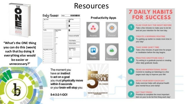 """Resources """"What's the ONE thing you can do this (week) such that by doing it everything else would be easier or unnecessar..."""