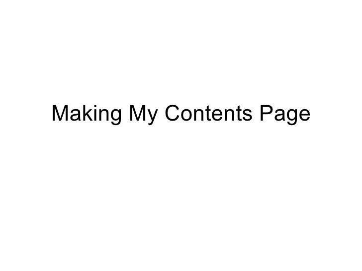 Making My Contents Page