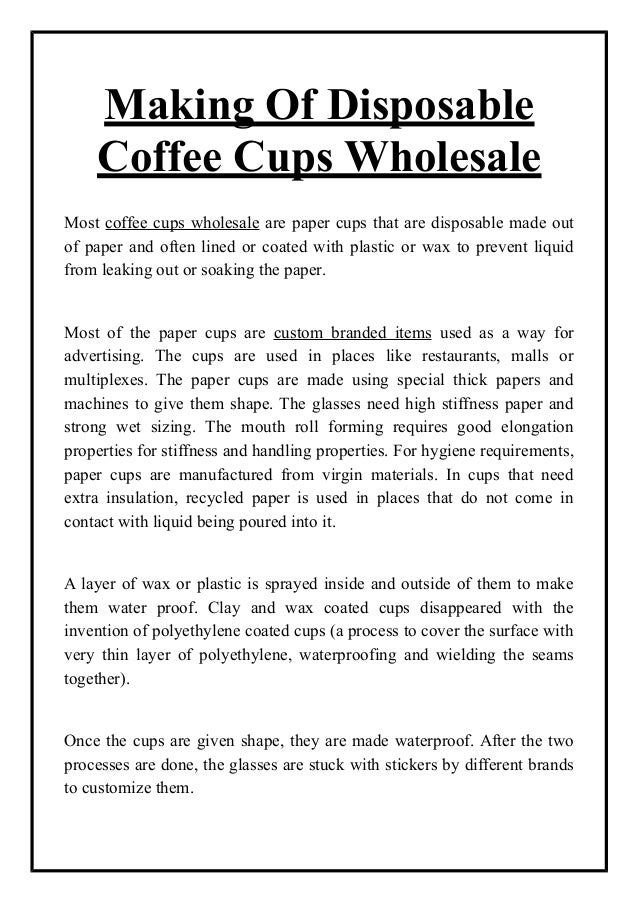 Making of disposable coffee cups wholesale