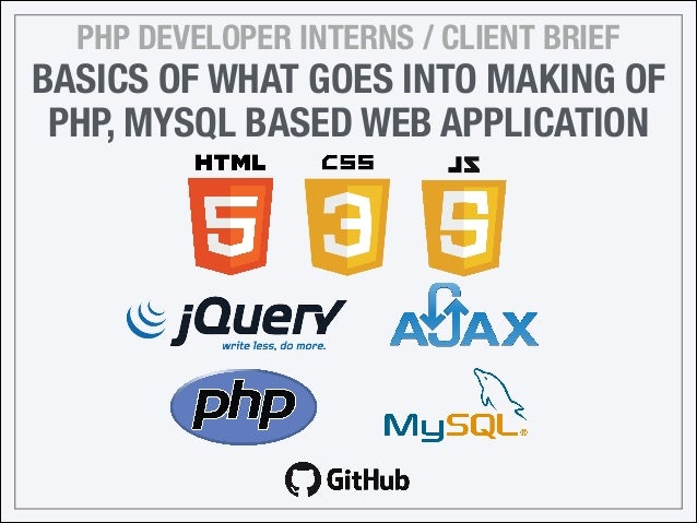 PHP DEVELOPER INTERNS / CLIENT BRIEF BASICS OF WHAT GOES INTO MAKING OF PHP, MYSQL BASED WEB APPLICATION