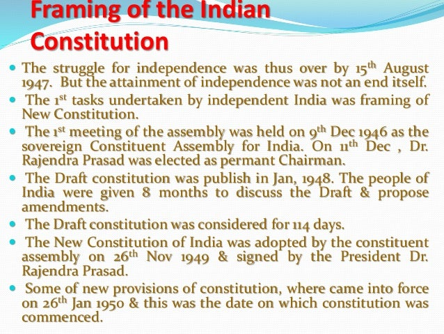 write about the making of constitution of india