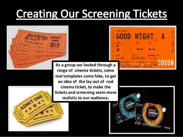 As a group we looked through a range of cinema tickets, some real templates some fake, to get an idea of the lay out of re...