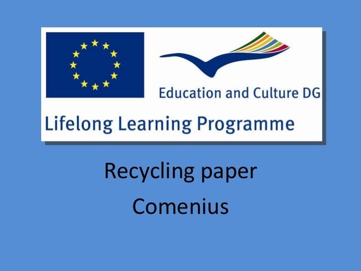 Recycling paper Comenius