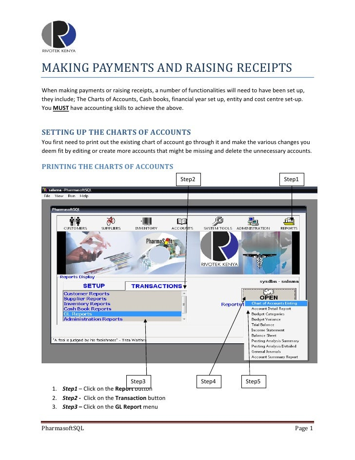 making payments and raising receipts