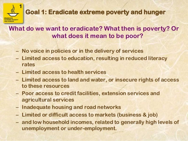 eradicate extreme poverty hunger essay Millennium goal 1 - eradicate extreme poverty and hunger posted: august 2004 additional resources.