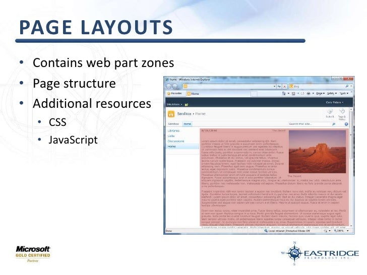 Page layouts<br />Contains web part zones<br />Page structure<br />Additional resources<br />CSS<br />JavaScript<br />