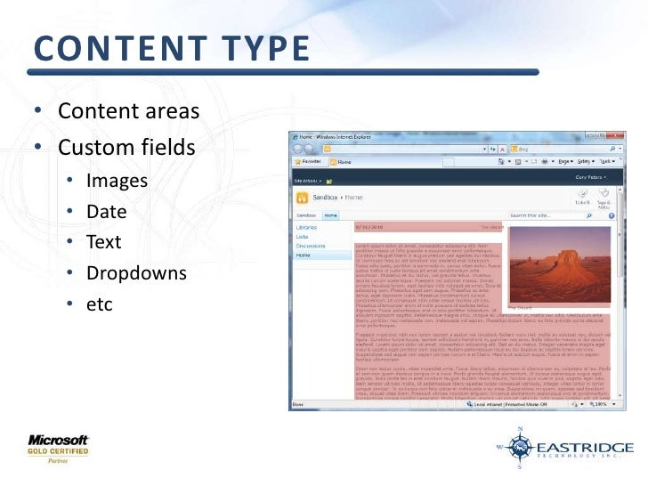 Content Type<br />Content areas<br />Custom fields<br />Images<br />Date<br />Text<br />Dropdowns<br />etc<br />