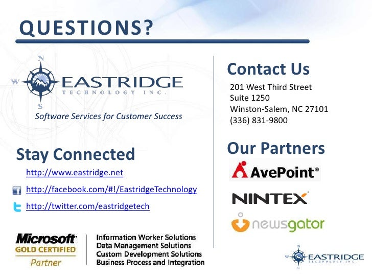Questions?<br />Contact Us<br />201 West Third Street<br />Suite 1250<br />Winston-Salem, NC 27101<br />(336) 831-9800<br ...
