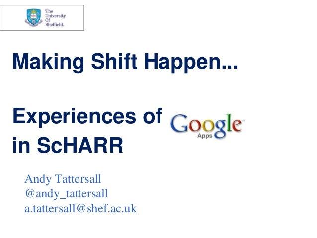 Making Shift Happen...Experiences ofin ScHARR    Andy Tattersalle    @andy_tattersall    a.tattersall@shef.ac.uk