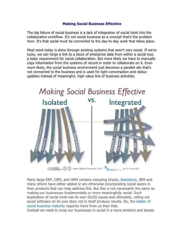 Making Social Business Effective<br />The big failure of social business is a lack of integration of social tools into the...
