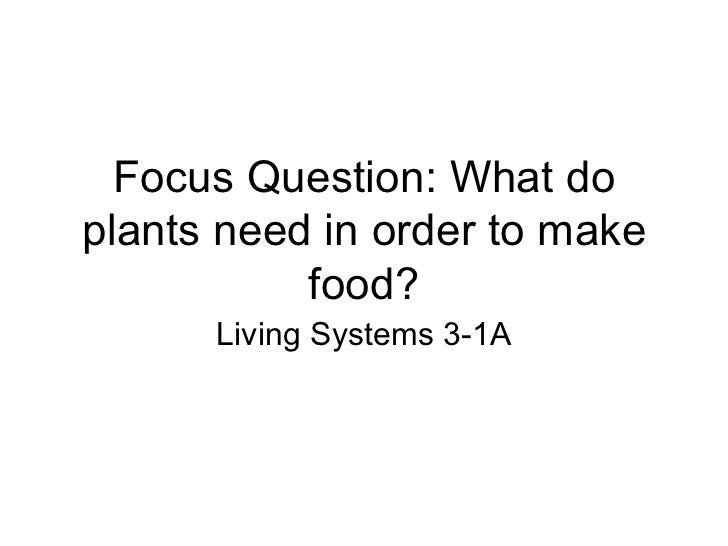 Focus Question: What do plants need in order to make food? Living Systems 3-1A