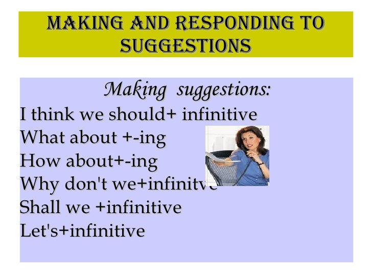 MAKING AND RESPONDING TO SUGGESTIONS Making  suggestions: <ul><li>I think we should+ infinitive