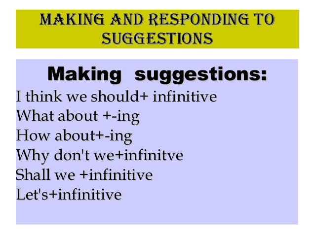 MAKING AND RESPONDING TOMAKING AND RESPONDING TO SUGGESTIONSSUGGESTIONS Making suggestions:Making suggestions: I think we ...