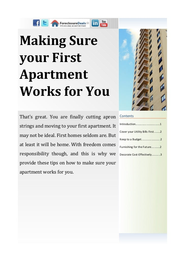 Making Sureyour FirstApartmentWorks for YouThat's great. You are finally cutting apron      Contents                      ...