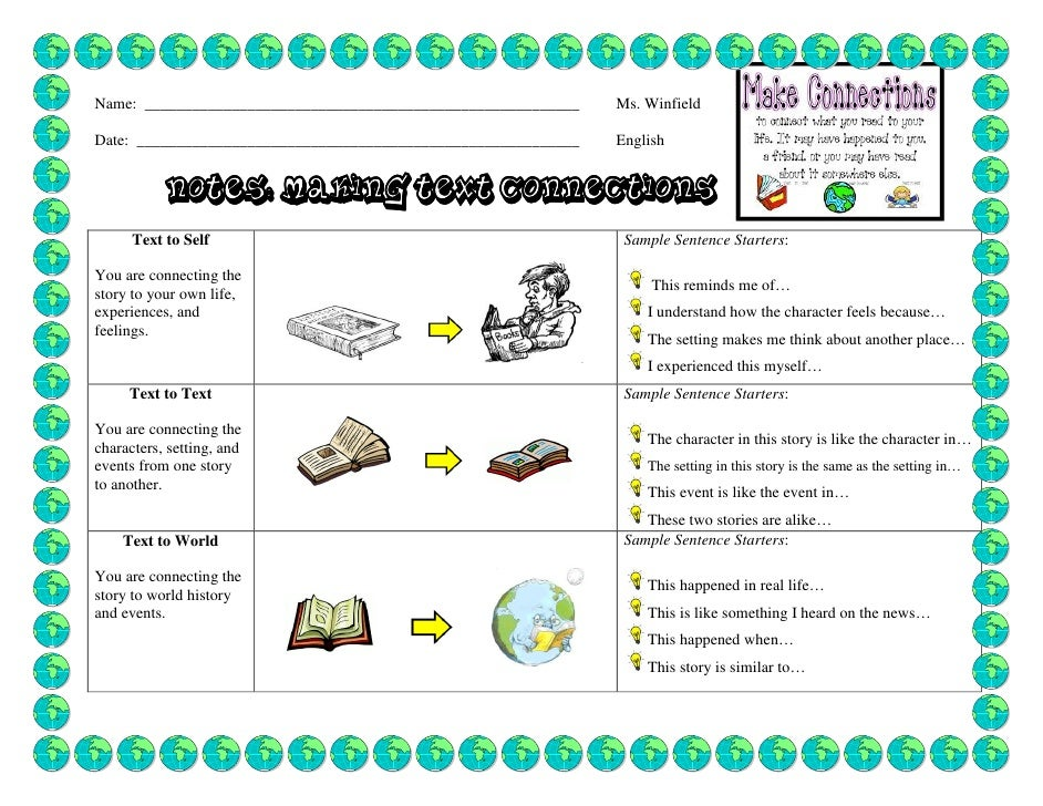 Free Worksheets text to world connections worksheet : Making text connections