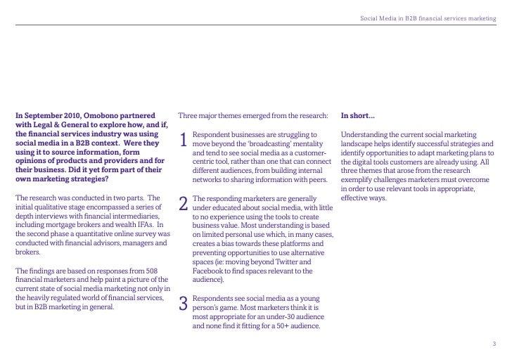 SocialMediainB2BfinancialservicesmarketingIn September 2010, Omobono partnered                  Three major themes e...