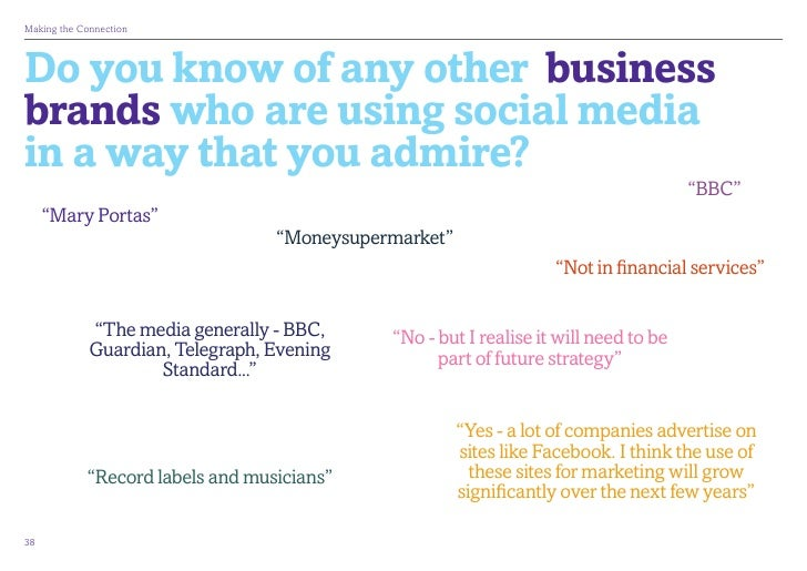 MakingtheConnectionDo you know of any other businessbrands who are using social mediain a way that you admire?          ...