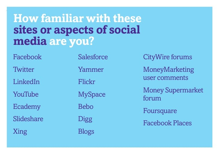 How familiar with thesesites or aspects of socialmedia are you?Facebook     Salesforce      CityWire forumsTwitter      Ya...